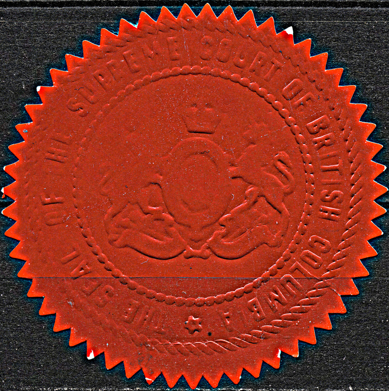 Provinces of bc alberta canadian stamps and collectables of bwdavis bc supreme court seal red single p57pg03s01 offers image has been enhanced slightly to improve clarity of writing and symbol sciox Images